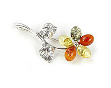 Baltic Amber & Silver Brooch Art.ASB016
