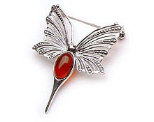 Baltic Amber & Silver Brooch Art.ASB009