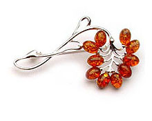 Baltic Amber & Silver Brooch Art.ASB018