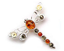 Baltic Amber & Silver Brooch Art.ASB007