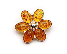 Baltic Amber & Silver Brooch Art.ASB006
