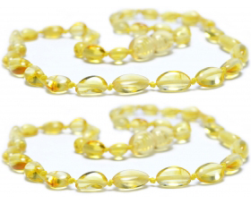 2 Pieces Lemon Oval Beads Baltic Amber Teething Necklace
