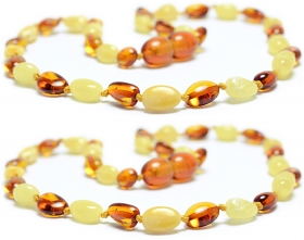 2 Pieces Cognac/White Oval Beads Baltic Amber Teething Necklace