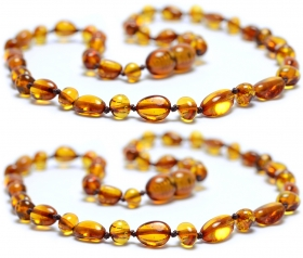 2 Pieces Cognac Oval-Baroque Beads Baltic Amber Teething Necklace