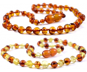 2 Pieces Cognac & Cognac/Lemon Baroque Baltic Amber Teething Necklace